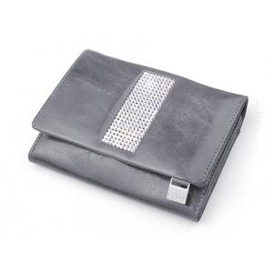 eb17bdf02a140 cv-530 skórzany portfel z kamieniami swarovskiego szary
