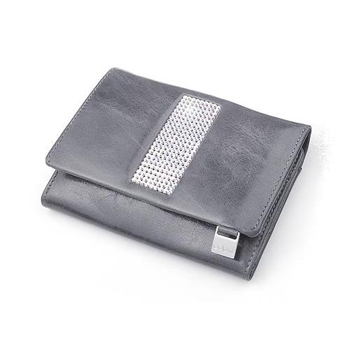 0a03c75aca6cd cv-530 skórzany portfel z kamieniami swarovskiego szary to najlepsze ...