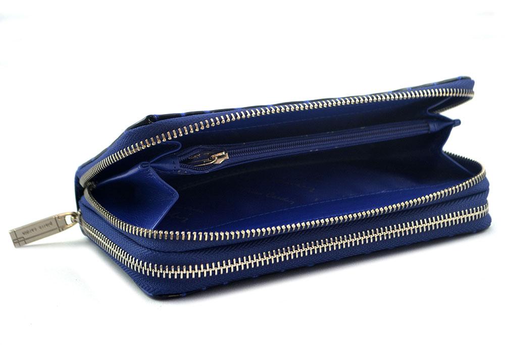 351f065207038 PIERRE CARDIN damski portfel skóra lakierowana croco niebieski COCO 118 -  prawie organizer