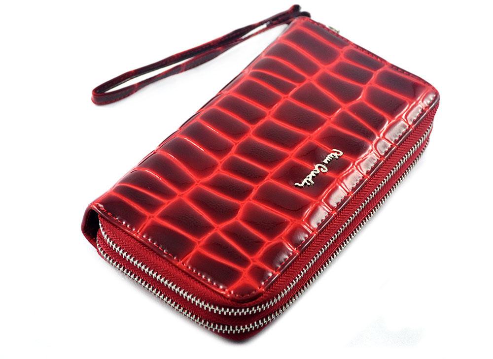 fb4561e303a29 PIERRE CARDIN damski portfel skóra lakierowana croco czerwony COCO 118 -  prawie organizer