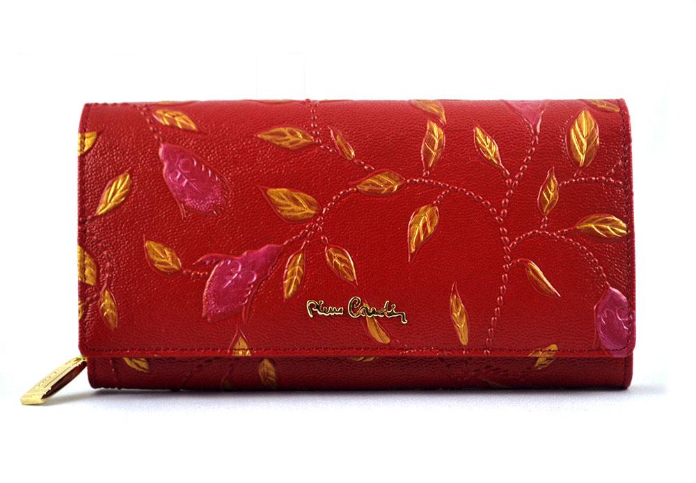 cafb3d4d3f369 PIERRE CARDIN skórzany portfel damski PLANT 106 na suwak * czerwony ...