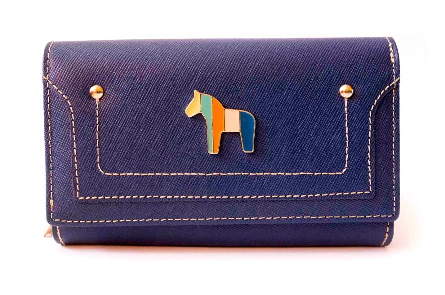 28830018a4977 PETERSON skórzany portfel damski 601 niebieski