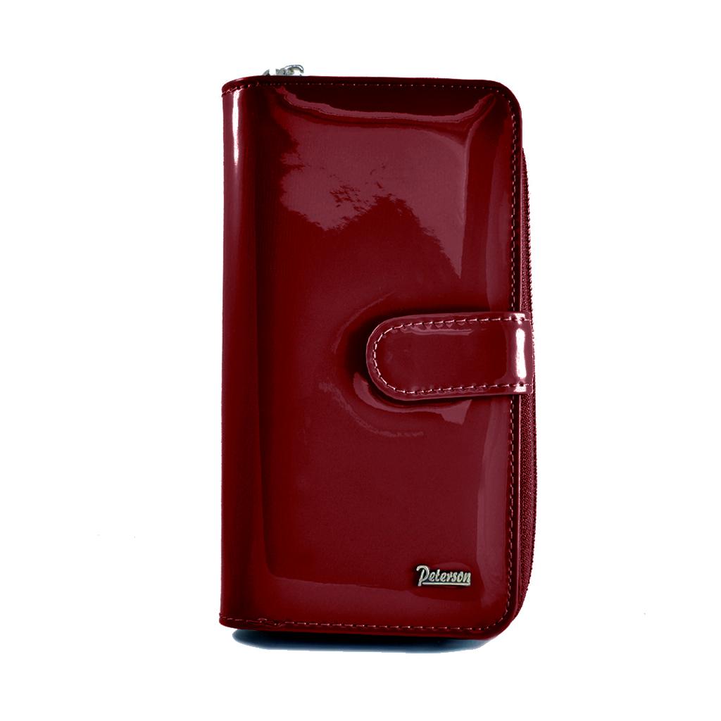 bf20db26f20f6 PETERSON skórzany portfel damski BC603 czerwony lakier