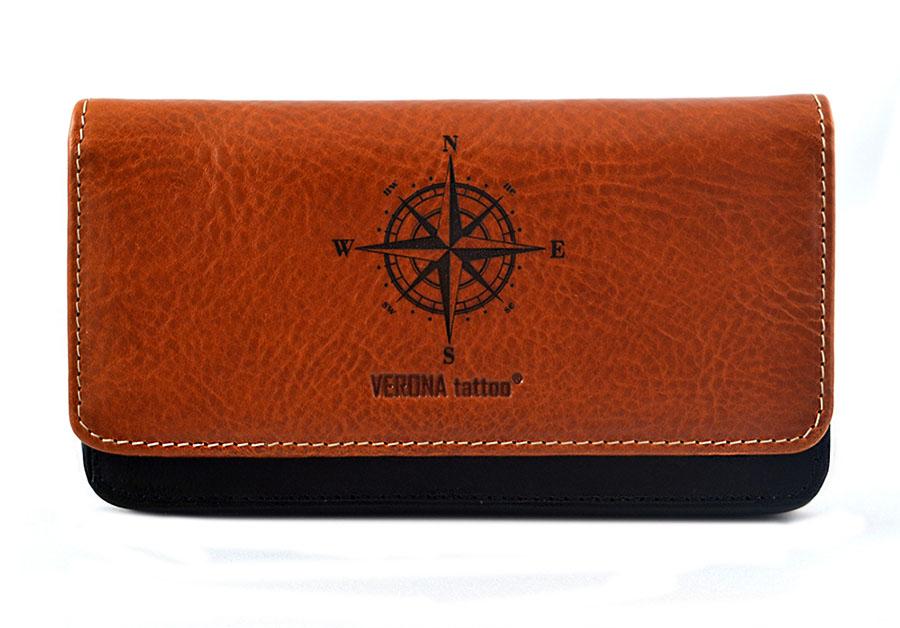 69f59217a14fd VERONA Tattoo skórzany portfel damski 343D z tatuażem róża wiatrów ...